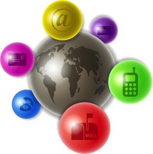 globus und kommunikationssymbole