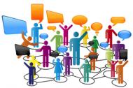 bunte vernetzte Figuren stehen in Kommunikation